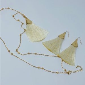 Jewelry - Ivory Tassel Necklace and Earrings
